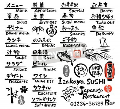 Plakát Japanese food MENU, in English and Japanese