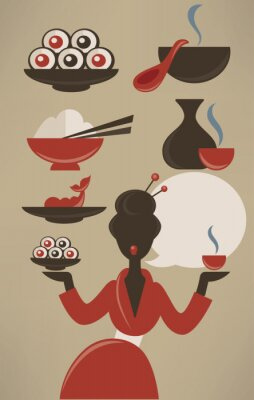 Plakát Japanese menu, vector food collection in flat style