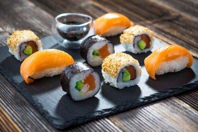 Plakát Japonský mořské plody sushi