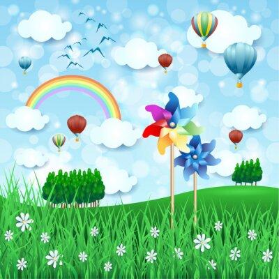 Plakát Jarní krajina s ozubenými koly a horkovzdušnými balónky