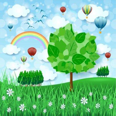 Plakát Jarní pozadí s velkým stromem a horkovzdušnými balónky