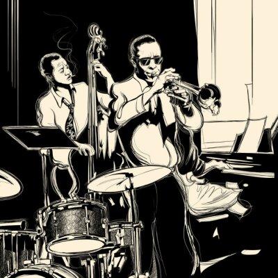 Plakát Jazz band s kontrabasista trubka klavír a buben