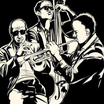 Plakát jazz band se trubka a kontrabas