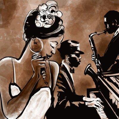 Plakát Jazz band se zpěvákem, saxofon a klavír - ilustrace