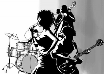 Plakát Jazz singer with guitar saxophone and double-bass player