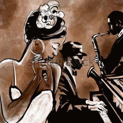 Plakát Jazzová kapela se zpěvákem, saxofonem a klavírem - vektorové ilustrace