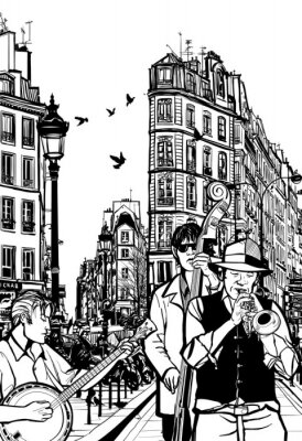 Plakát Jazzová kapela v ulici Paříže
