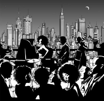 Plakát Jazzová kapela vystupuje v New Yorku