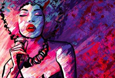 Plakát Jazzová zpěvačka s mikrofonem na pozadí grunge