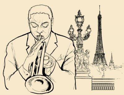 Plakát jazzový trumpetista na Alexander mostě v Paříži (inkoustové pero výkres)