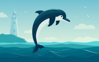 Plakát Jeden skákání delfín, modré moře pozadí s vlnami a maják. vektorové ilustrace