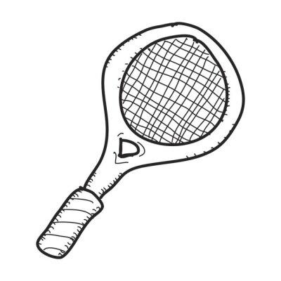 Plakát Jednoduché doodle of tenisovou raketu