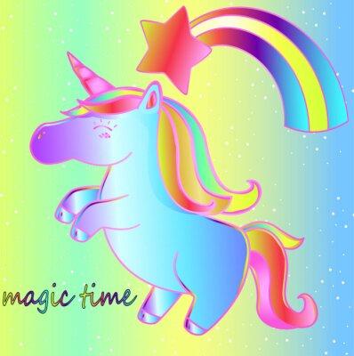 Plakát Jednorožec a duha na zářivém neonovém pozadí je kouzelný čas. Jasný dětský pohádkový plakát