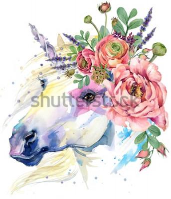 Plakát jednorožec. akvarel květ kytice ilustrace. fantasy pozadí. bílý kůň.