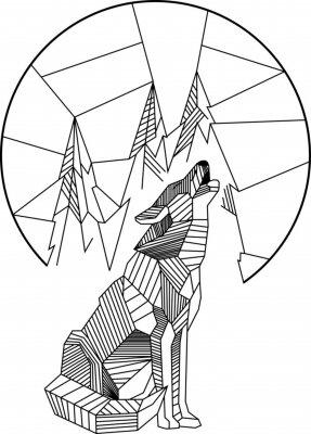 Plakát Jízda Wolf Geometric