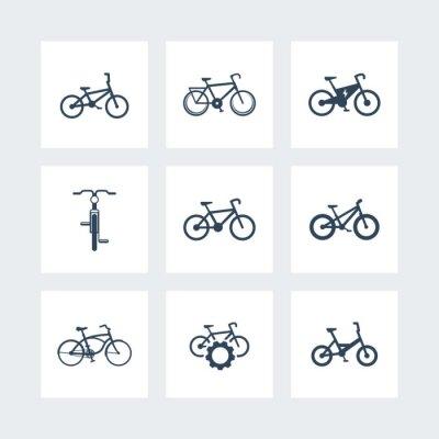 Plakát jízdních kol, jízda na kole, kolo, elektrické kolo, tuk-bike jednoduché ikony, vektorové ilustrace