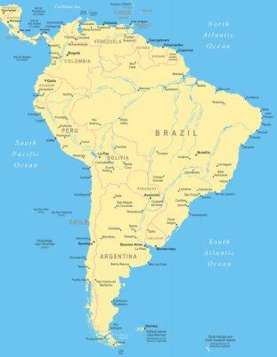Plakát Jižní Amerika mapa - velmi podrobné vektorové ilustrace.