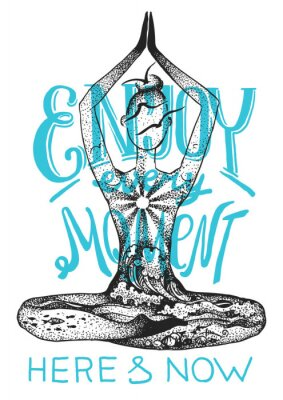 Plakát Jóga meditace představuje. Grafické vektorové ručně kreslené ilustrace