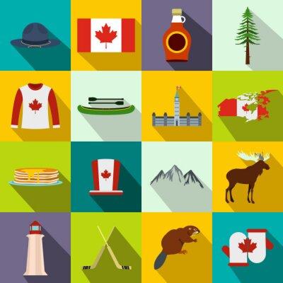 Plakát Kanada ikony ploché