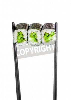 Plakát Kappa maki válet. Sushi Roll na bílém pozadí
