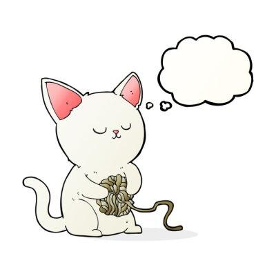 Plakát karikatura kočka si hraje s míčem příze s myšlenkou bubliny