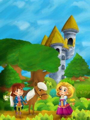 Plakát Karikatura lesní scény s princem s jeho koněm a princeznou stojící a mluvící na cestě poblíž zámecké věže