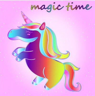 Plakát karikatura neon jednorožec s hvězdami na pozadí růžového přechodu - čas dobrodružství a čas magie