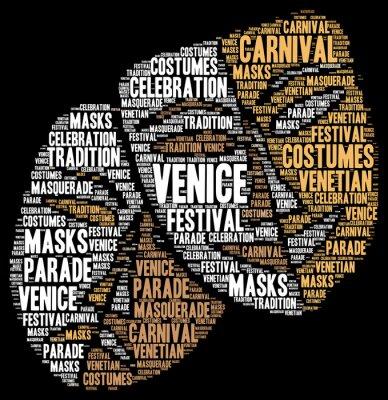Plakát Karneval v Benátkách v Itálii slovem mrak