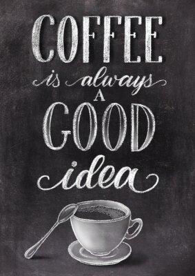 Plakát Káva je vždy dobrý nápad nápisy na pozadí černé tabule s šálkem. Han nakreslené křídou vinobraní ilustrace.
