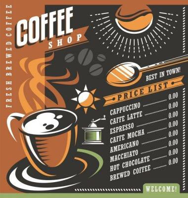 Plakát Káva Menu dům šablona kreativy