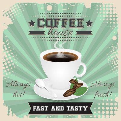 Plakát Kavárna grunge plakát design s polotónů efekt. Šálek kávy, lžíce, kávová zrna, deska, listí a pára.