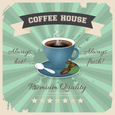 Plakát Kavárna plakát design s šálkem kávy v retro stylu.