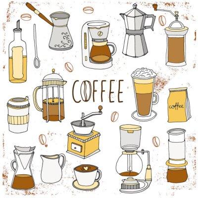 Plakát Kávový servis. Ručně malovaná kolekce