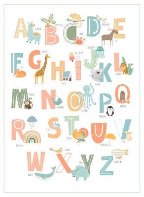 Plakát Kids english alphabet, A to Z with cute cartoon animals. Editable vector illustration