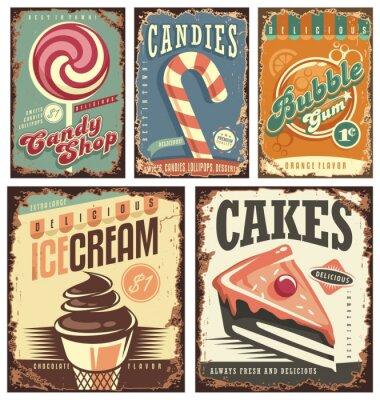 Plakát Klasická kolekce Candy Shop z plechových cedulí