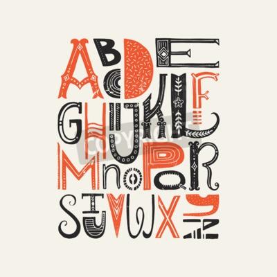 Plakát Klasické plakáty s unikátními latinské abecedy. Vector font nebo typografie designu.
