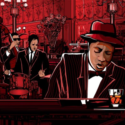 Plakát klavír-jazz band v restauraci