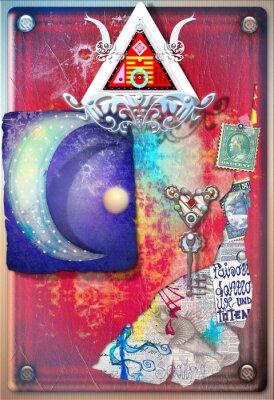 Plakát Koláž pozadí s barevnými, alchemic útržků, hvězdné měsíc a