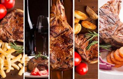 Plakát Koláž z fotografií z grilovaného masa