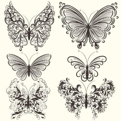 Plakát Kolekce abstraktní vektor vířivých motýly pro design
