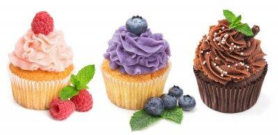 Plakát Kolekce světlých koláčky s čerstvým ovocem izolovaných na while