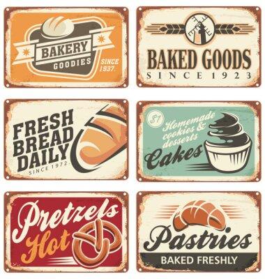 Plakát Kolekce Vintage vektorové pekárny značky
