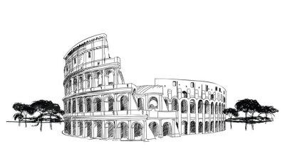 Plakát Koloseum v Římě, Itálie. Landmark Coliseum, městskou krajinu.