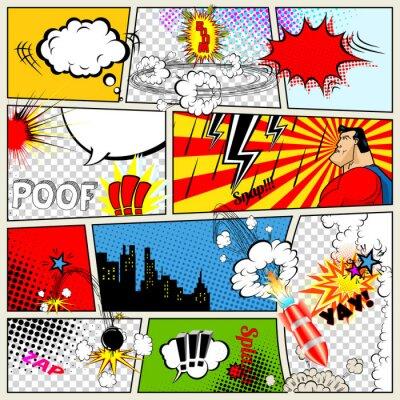 Plakát Komiks šablony. Vector Retro Comic Book Speech Bubbles