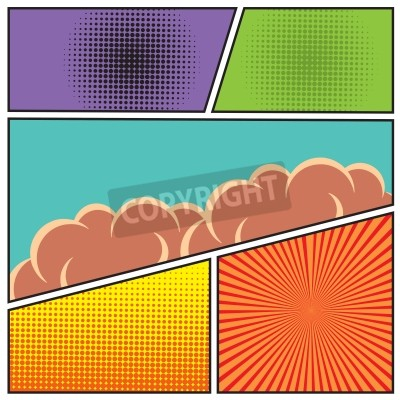 Plakát Komiks stylu pop art prázdný šablonu rozvržení s mraky trámy a tečky podtisk vektorové ilustrace
