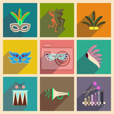 Plakát Koncepce plochých ikon s dlouhým stínem brazilského karnevalu