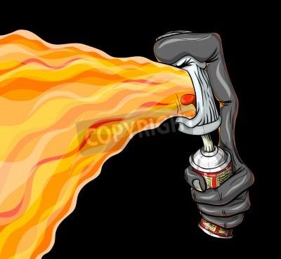 Plakát Kontejner stříkací požáru graffiti.