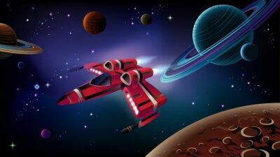 Plakát Kosmická loď, planety a prostor.