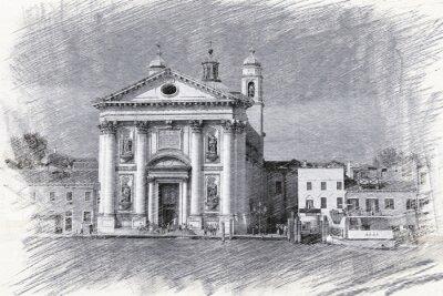 Plakát Kostel Santa Maria del Rosario v Itálii, Benátky. Skica