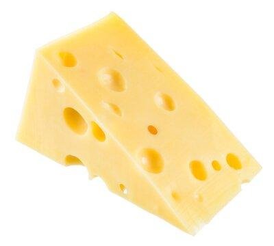 Plakát Kousek sýra izolované. S ořezovou cestou.